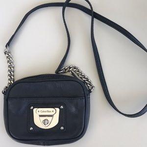 Small Black Leather Calvin Klein Crossbody Purse